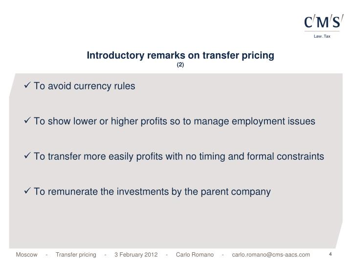 Introductory remarks on transfer pricing