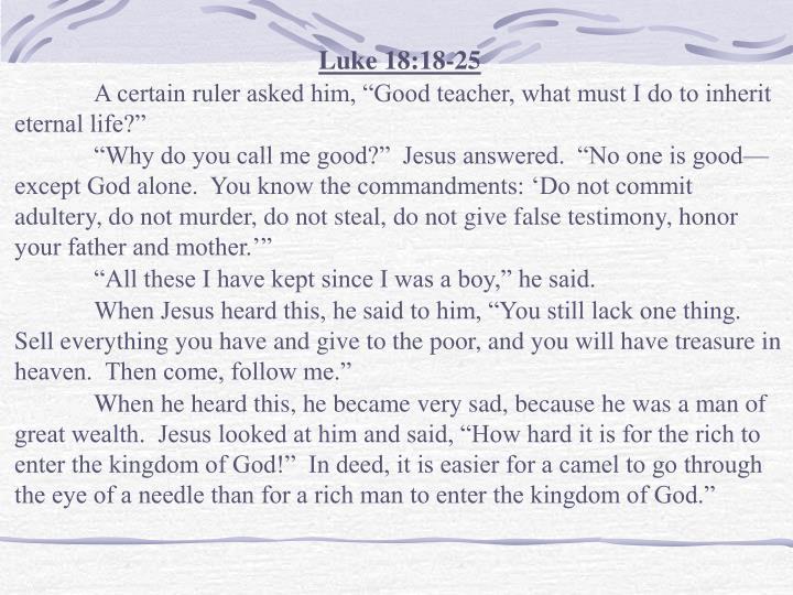 Luke 18:18-25