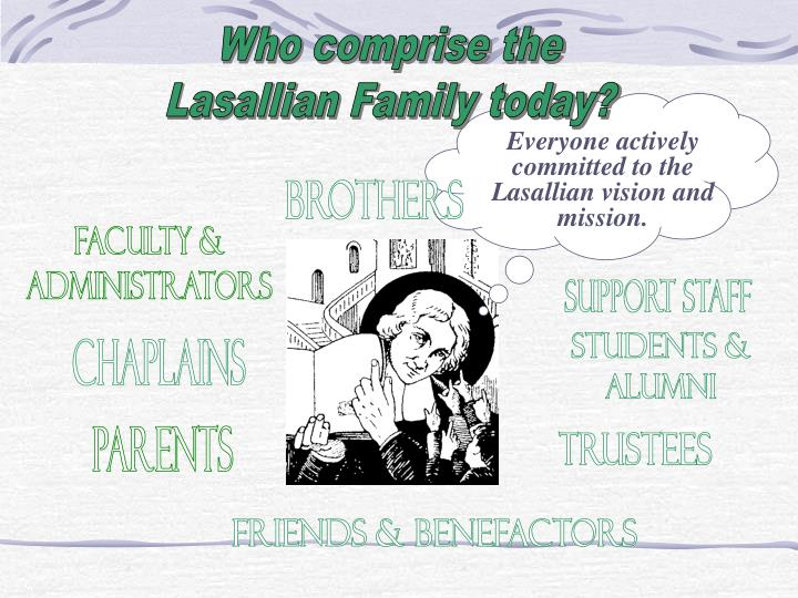 Everyone actively committed to the Lasallian vision and mission.