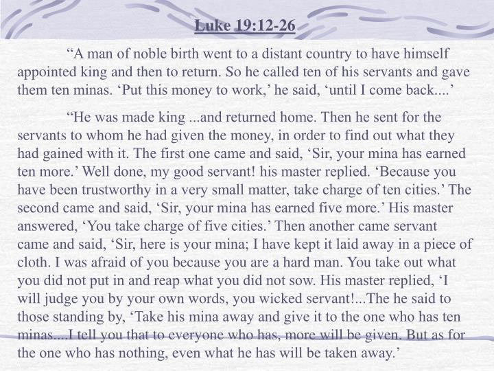 Luke 19:12-26