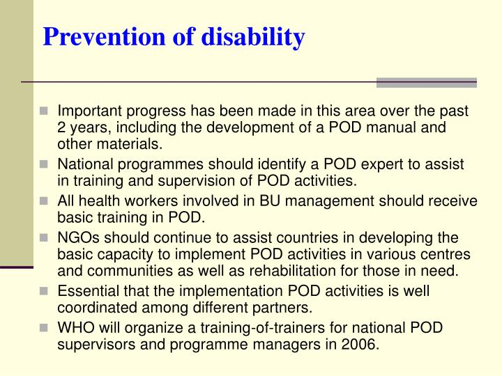 Prevention of disability