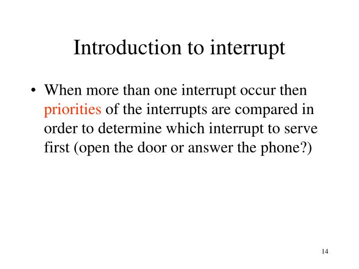 Introduction to interrupt