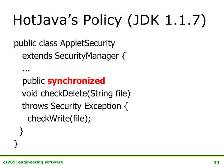 HotJava's Policy (JDK 1.1.7)