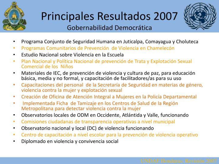 Principales Resultados 2007