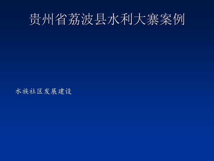 贵州省荔波县水利大寨案例