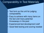 comparability in test materials