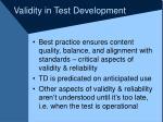 validity in test development