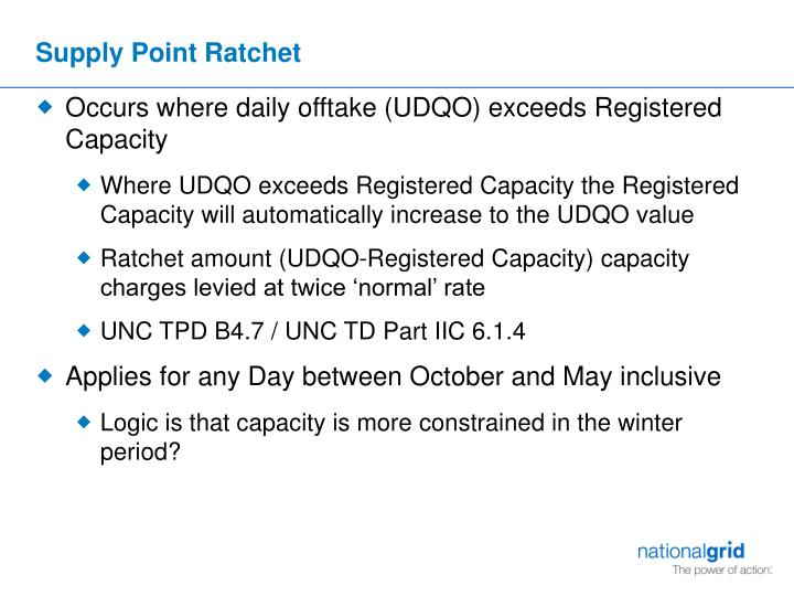 Supply Point Ratchet