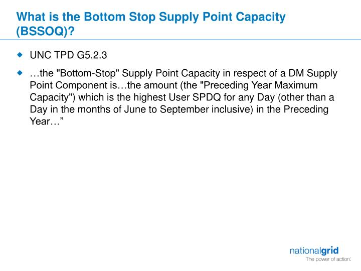 What is the bottom stop supply point capacity bssoq