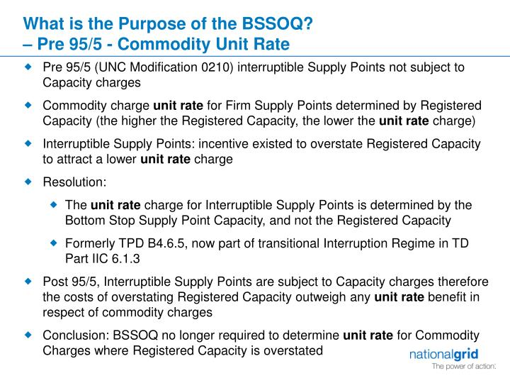 What is the purpose of the bssoq pre 95 5 commodity unit rate