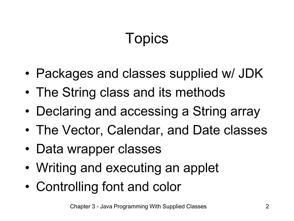 PPT - Chapter 3 Java Programming With Supplied Classes
