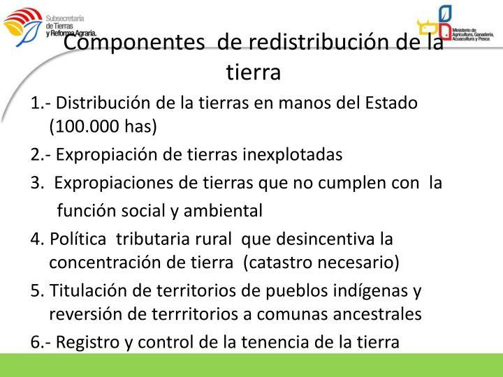 Componentes  de redistribución de la tierra