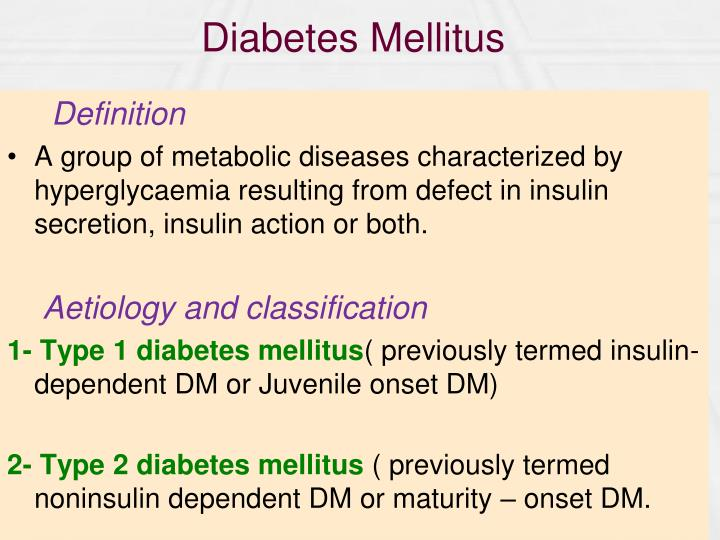 """diabetes mellitus 3 essay Diabetes mellitus essay -1 freshman composition 20 november 2013 diabetes """"diabetes mellitus is defined as a group of diseases characterized by high blood glucose levels that result from defects in the body's ability to produce and/ or use insulin"""" (american diabetes association."""