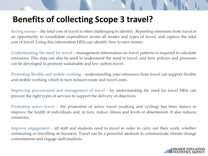 Benefits of collecting Scope 3 travel?
