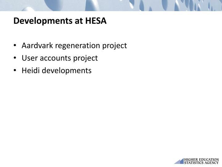 Developments at HESA