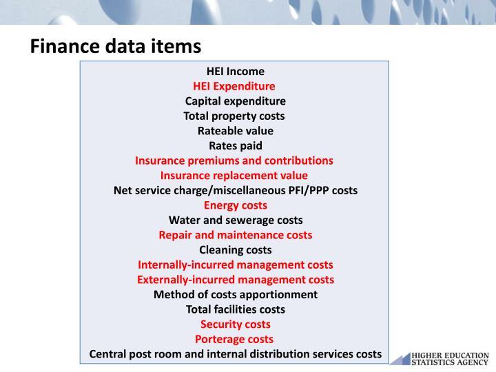 Finance data items