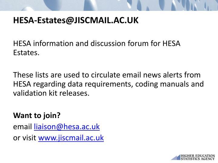 HESA-Estates@JISCMAIL.AC.UK
