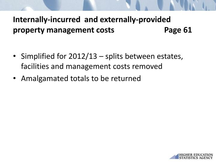 Internally-incurred  and externally-provided property management costs Page 61