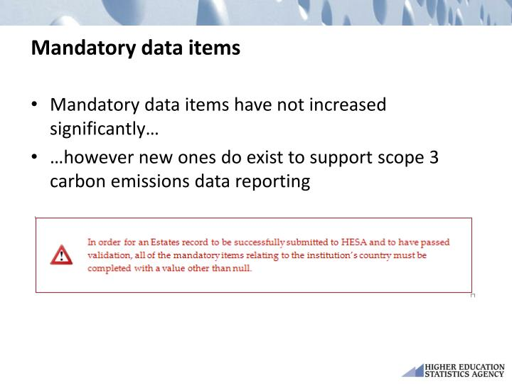 Mandatory data items