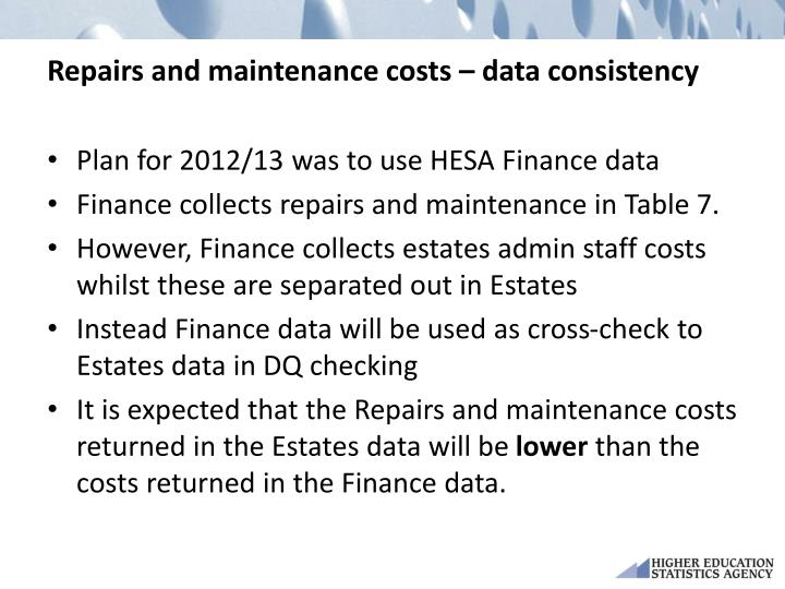 Repairs and maintenance costs – data consistency