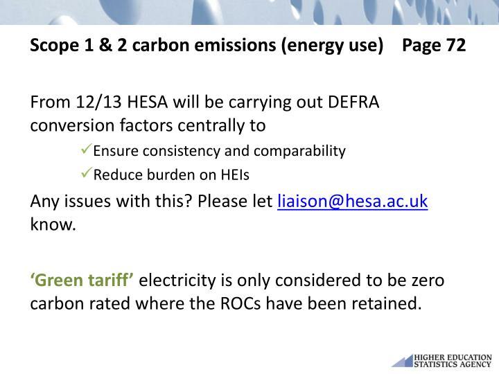 Scope 1 & 2 carbon emissions (energy use