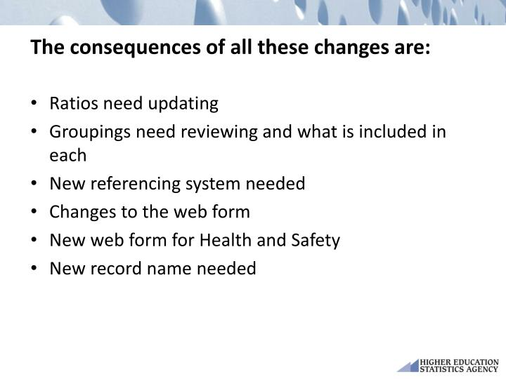 The consequences of all these changes are: