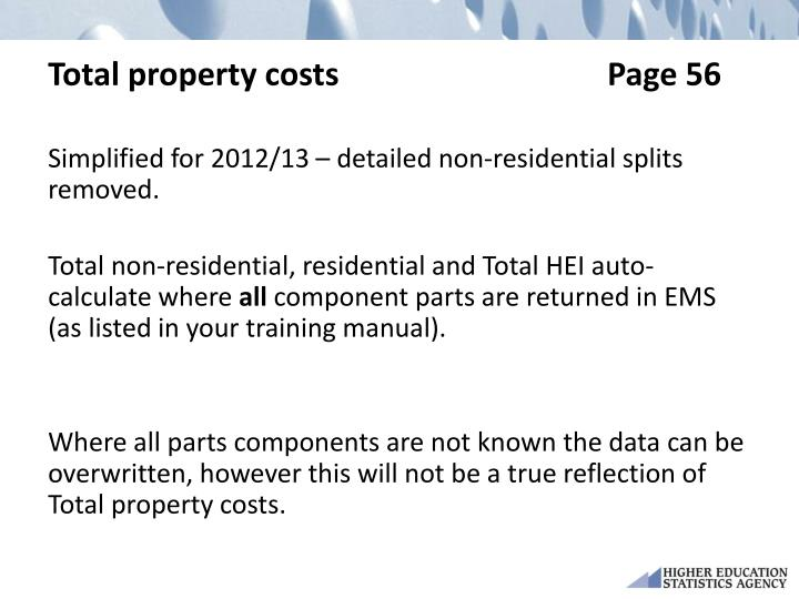 Total property costsPage 56
