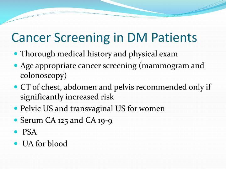 Cancer Screening in DM Patients
