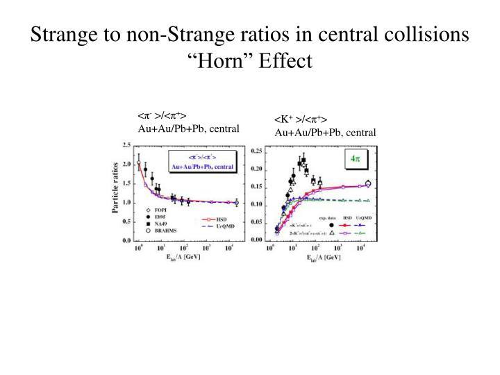 Strange to non-Strange ratios in central collisions