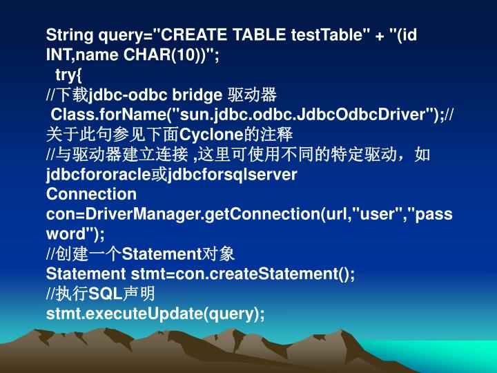 "String query=""CREATE TABLE testTable"" + ""(id INT,name CHAR(10))"";"