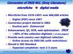 conversion of inis ncl grey literature microfiche digital media