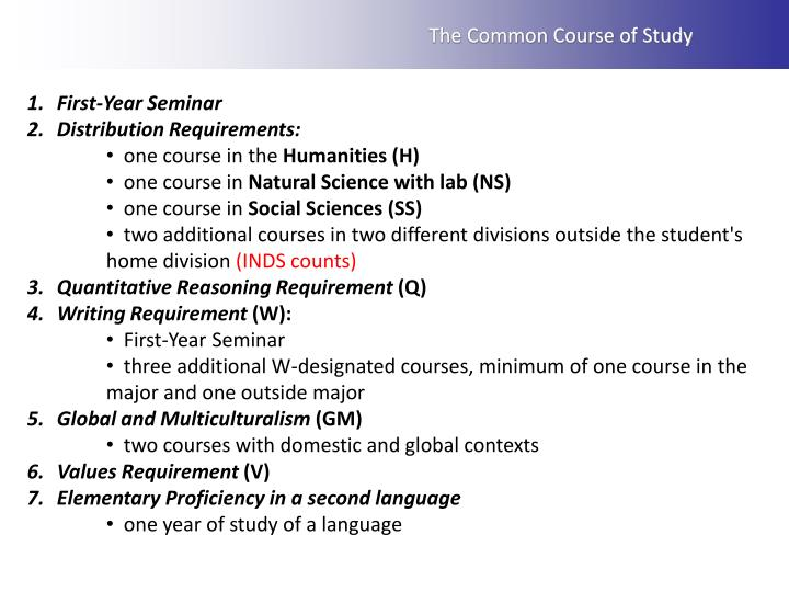 The Common Course of Study