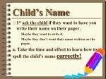 child s name