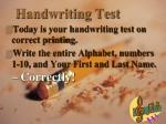 handwriting test