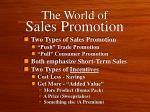 the world of sales promotion