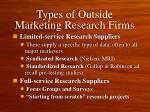 types of outside marketing research firms