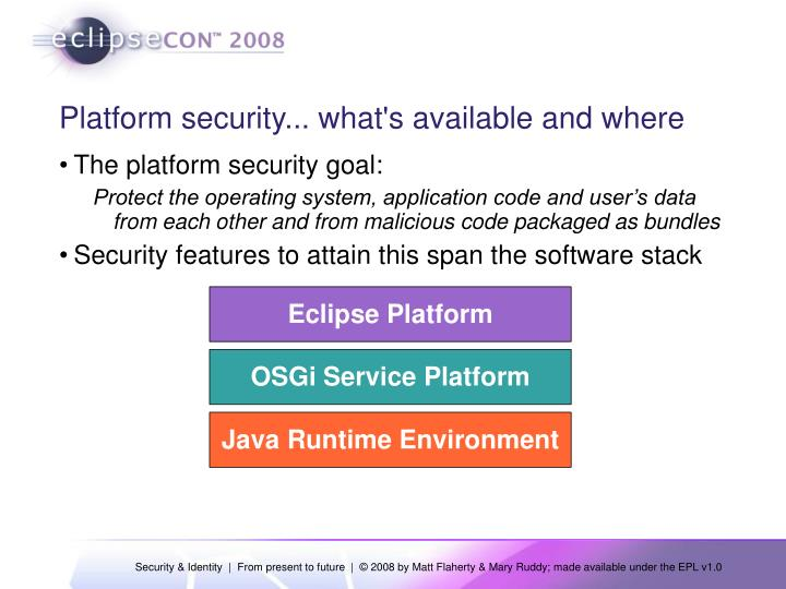 Platform security what s available and where