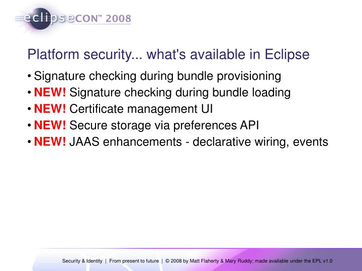 Platform security... what's available in Eclipse