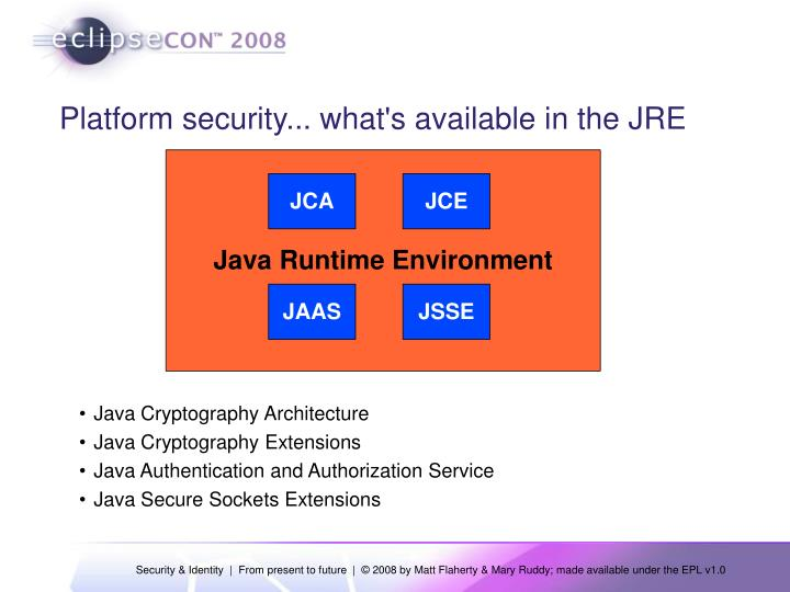 Platform security... what's available in the JRE