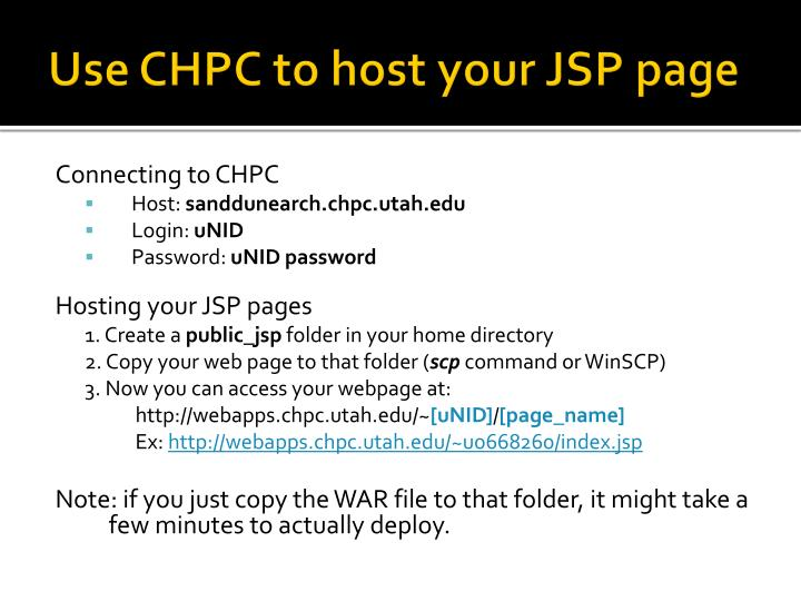 Use CHPC to host your JSP page