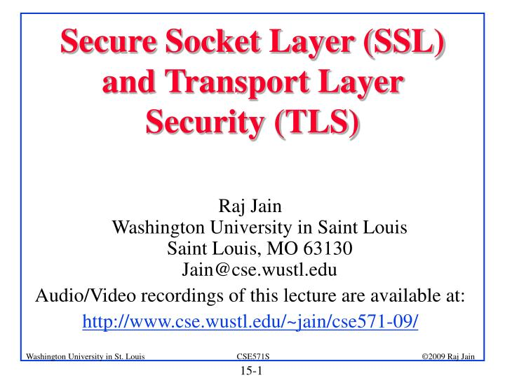 secure socket layer ssl and transport layer security tls