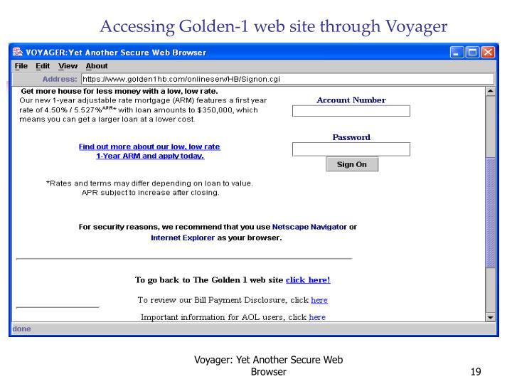 Accessing Golden-1 web site through Voyager