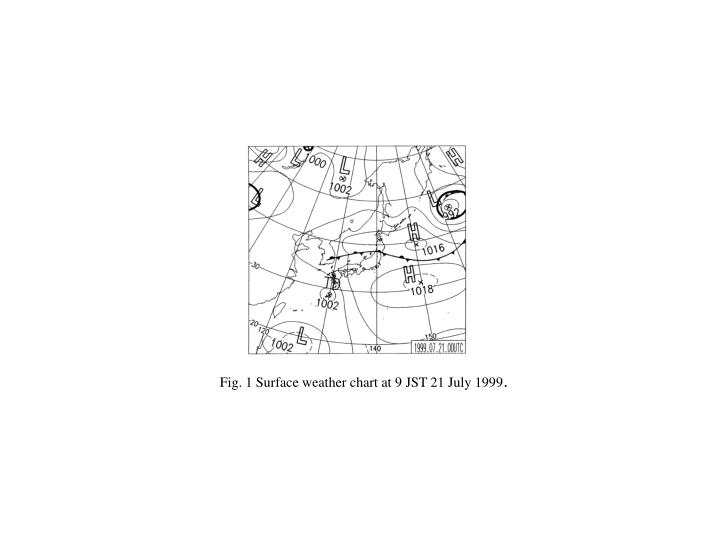 Fig. 1 Surface weather chart at 9 JST 21 July 1999