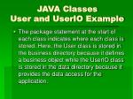 java classes user and userio example