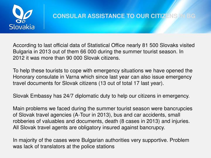 CONSULAR ASSISTANCE TO OUR CITIZENS IN BG