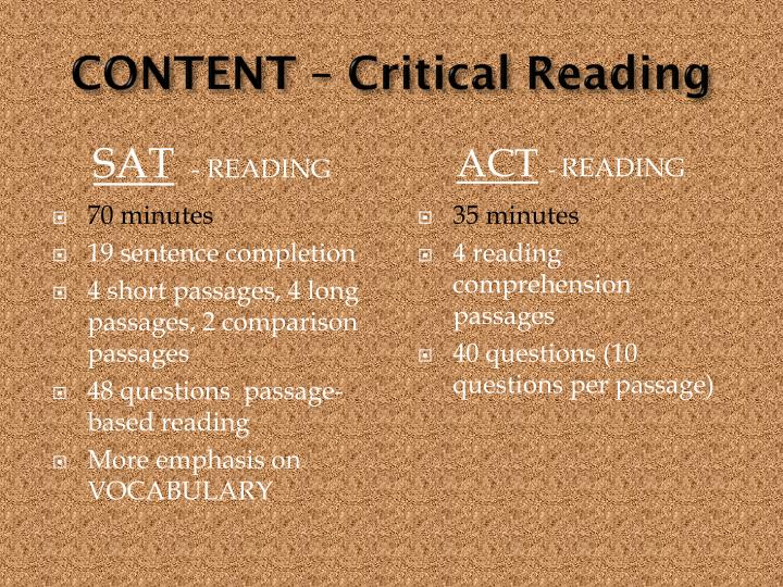 CONTENT – Critical Reading
