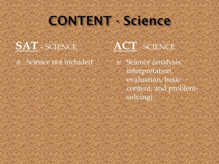 CONTENT - Science