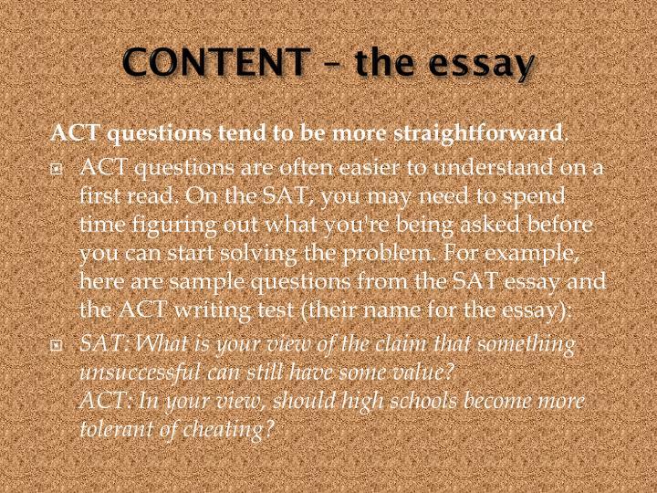 CONTENT – the essay