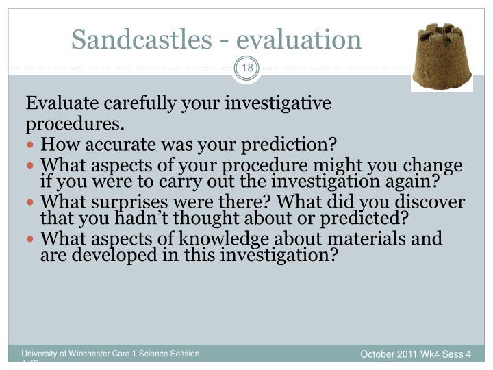 Sandcastles - evaluation