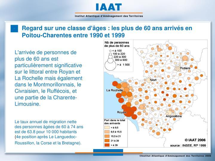 Regard sur une classe d'âges : les plus de 60 ans arrivés en Poitou-Charentes entre 1990 et 1999